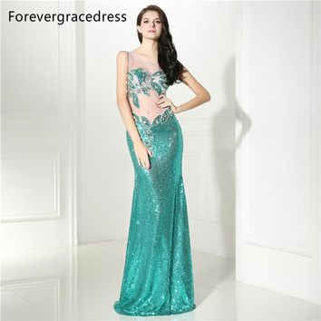 Forevergracedress New Sleeveless Prom Dress 2017 Sexy Illusion Sequins Crystals Long Formal Party Gown Plus Size Custom Made