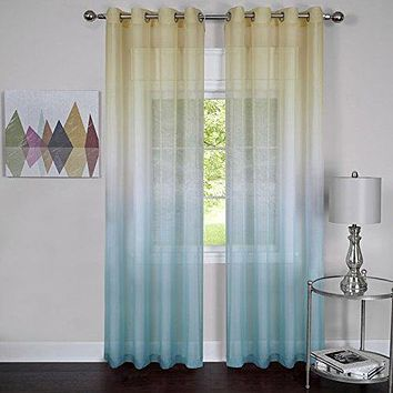 Ben&Jonah Collection Rainbow - Single Grommet Window Curtain Panel - 52x63 Blue