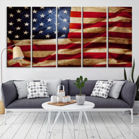 15908 - Large Wall Art US Flag Canvas Print- USA Flag Canvas Print- Modern XXL Large Wall Art American Vintage Flag Canvas Print