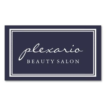Double Frame BLUE Modern Beauty Salon Business Card
