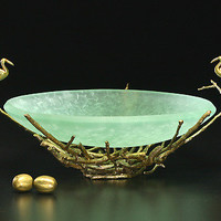 Egret Nest Bowl: Georgia Pozycinski and Joseph Pozycinski: Art Glass & Bronze Sculpture - Artful Home