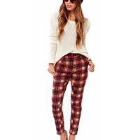 Contrast Color Plaid Pattern Pants