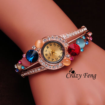 NEW women luxury Quartz watch women Wristwatches Gold Plated opal Austrian crystal watches one pc Free Shipping