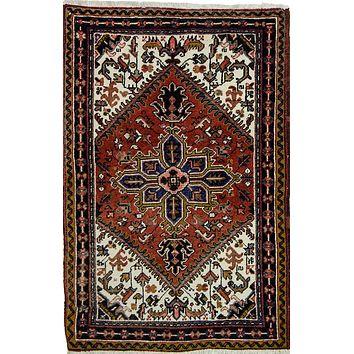 Oriental Tribal Heriz Pure Wool Persian Rug, Red/Beige