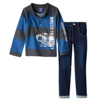 Only Kids Apparel ''Monster Truck Rally'' Rugby Henley & Jeans Set - Toddler Boy, Size: