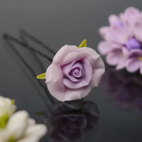 Cold porcelain handmade decorative unusual elegant stylish hair pin Violet Rose