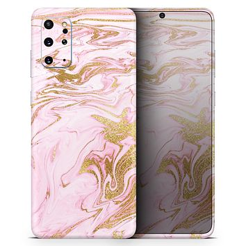 Rose Pink Marble & Digital Gold Frosted Foil V14 - Skin-Kit for the Samsung Galaxy S-Series S20, S20 Plus, S20 Ultra , S10 & others (All Galaxy Devices Available)