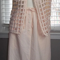 Vintage Peach Skirt and Vest Seersucker by Lucia Size Small