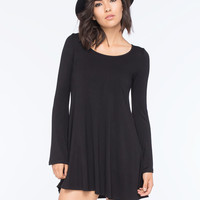 Lira Solid Bell Dress Black  In Sizes