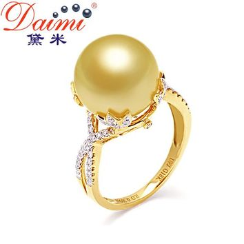 [Daimi] New Big South Sea Pearl Ring 18k Yellow Gold Diamond Top Quality 12-12.5mm Pearls