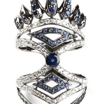 ONETOW Nikos Koulis diamond and sapphire pavé ring