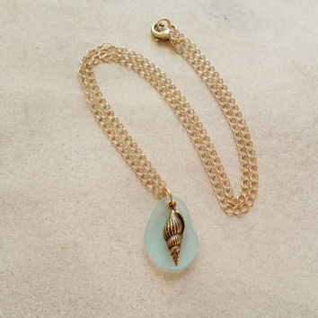 Gold Shell Necklace with Cultured Aqua Sea Glass Pendant from Eco Friendly Recycled Glass, Ocean Jewelry Beach Charm Necklacea