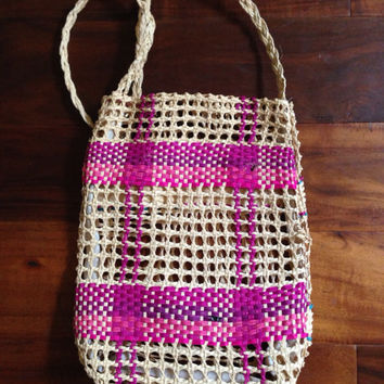 Handwoven Tote Bag Pink Raffia straw 60s boho craft vintage purse. Natural beige magenta plaid pattern Unique valentines gift. SHIPS FREE