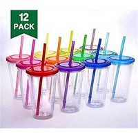 Cupture Classic Candy Insulated Tumbler with Lid and Straw, 16 oz, Pack of 12 (Assorted Colors) - Walmart.com