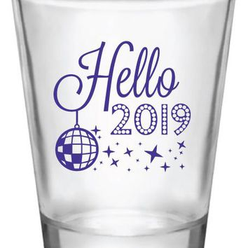 New Years shot glasses, hello 2019, new years eve party favors