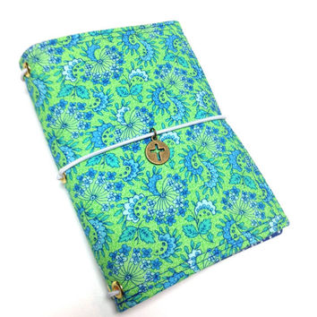Travelers notebook or journal, Midori style with charm- made to order in green and blue- wide size