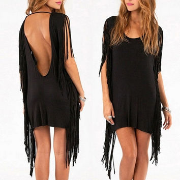 Women Black Gray Fringe Party Dress With Hippie and Tassel Asymmetric Summer Mini Club Dresses 2016 Hot