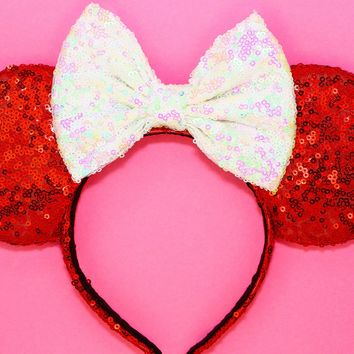 Red Sequin Ears and Iridescent White Bow