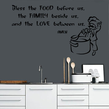 Wall Decals Quote Bless The Food Before Us The Family Beside Us Chef ... Decal Home Vinyl Decal Sticker Kids Nursery Baby Room Decor kk335