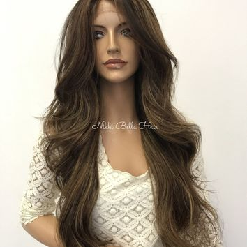 Ash Brown Balayage' Human Hair Blend 4x4 Deep Multi Parting Lace Front Wig -  Melania 626 172