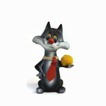 ON SALE - Sylvester the Cat Bank, 1967 Roy Des Vintage Plastic Toy Coin Bank, Cartoon Character Collectible