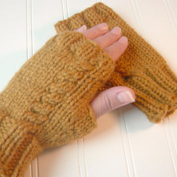 SALE Knit Fingerless Gloves Honey Mustard by WindyCityKnits