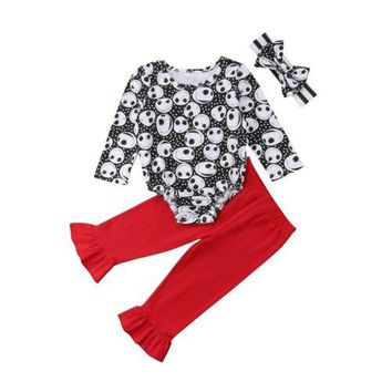 3PCS Newborn Infant Baby Girls Outfit Clothes Set Bodysuit Long Sleeve Skull Flared Pants Headband