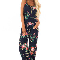 Navy Floral Print Jumpsuit with Waist Tie