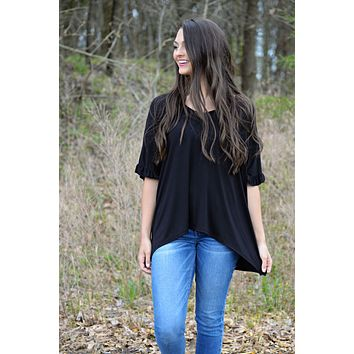 THE RIGHT TIME BLACK RUFFLE TOP
