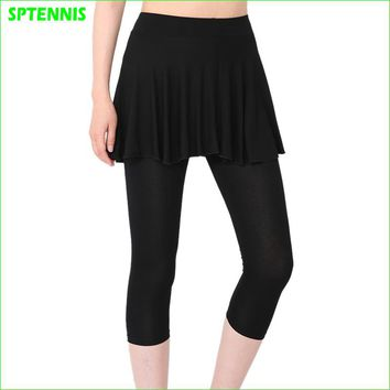 Woman Two-piece Pantskirt Thin Compression Leggings For Tennis Yoga Running Jogging Outdoor