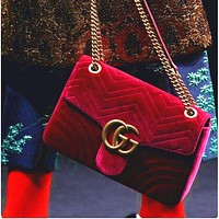 GUCCI Marmont Women Shopping Leather Metal Chain Crossbody Satchel Shoulder Bag Velvet Red