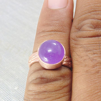 Handmade Ring - Purple Jade Ring - Round Gemstone Ring - Gold On Brass Ring - Bezel Set Ring - Cabochon Ring - Christmas Gift For Her