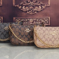 """Coach"" Women Casual Fashion Classic Letter Logo Print Metal Chain Single Shoulder Messenger Bag"