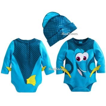 Licensed cool Finding Dory Fish Baby Bodysuit Costume & 3D Hat Disney Store 0-3 3-6 6-9M NEW