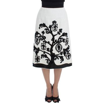 Dolce & Gabbana White Floral Brocade Family Tree Skirt