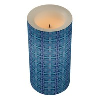 Blue Squares Shapes Abstract Pattern Flameless Candle