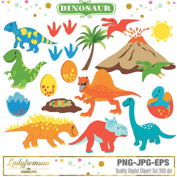 Dinosaur Clipart, vector graphics, prehistoric clipart, baby dinosaur, trex clipart, cute animal, dino party, Commercial-Personal Use