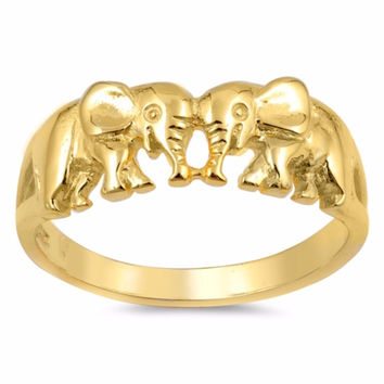 Sterling Silver Gold-Tone Plated Elephant Lovers Ring 7MM