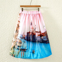 Vintage Water City Print Pleated Midi Skirt