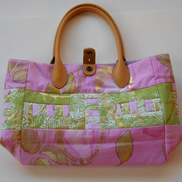 Handmade Patchwork Handbag. Dyed and Screenprinted . Pink and Green with Gold accent.