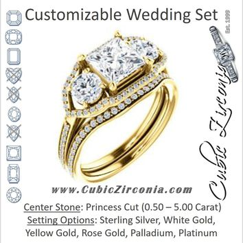 CZ Wedding Set, featuring The Lizabeth engagement ring (Customizable Princess Cut Enhanced 3-stone Style with Tri-Halos & Thin Pavé Band)