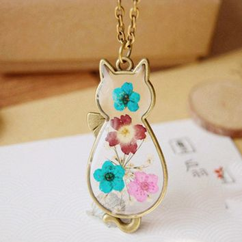 Vintage Handmade Retro Bronze Cat Shape Natural Dried Flowers Necklaces &amp Pendants Di For Women Jewelry