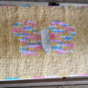 Yellow Butterfly Rug, Nursery Decor, Childs Rug, Baby Rug, Nursery Wallhanging, Locker Hooked, Locker Hooking, Home Decor, Housewares