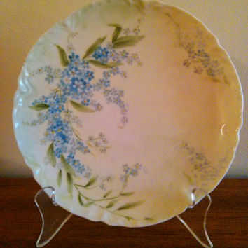 1920's VINTAGE Haviland of France Hand Painted Plate, Theodore Haviland & Co, Limoges Hand Painted Plate with Periwinkles, Forget-Me-Nots