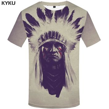 KYKU Indians Tshirt Men White Feather T Shirt Hip Hop Anime Clothes Character 3d Print T-shirt Punk Rock Mens Clothing Summer