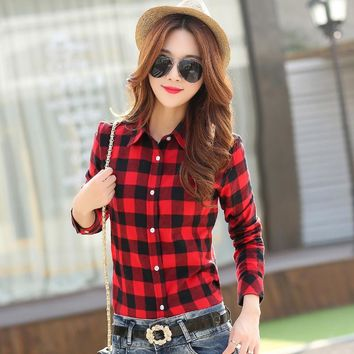 2015 New Casual Button Down Lapel Neck Plaids Checks Flannel Blouse Shirts Women Long Sleeve Tops Free Shipping