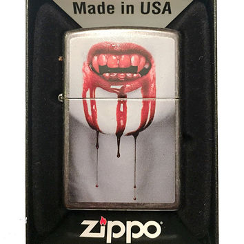 Zippo Custom Lighter - Bloody Vampire Mouth Dripping Blood - Regular Gray Dusk 28378-CI403839