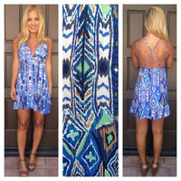 Waikiki Cross Back Baby Doll Dress - Blue