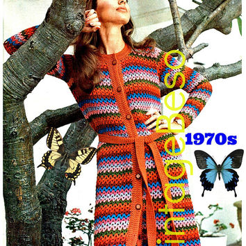 Long Cardigan CROCHET Pattern • INSTANT DOWNlOAD • PdF Pattern • Vintage 1970s Jacket • Coat • Retro • Long Sleeve Sweater • Boho • Hippie