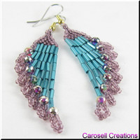 Beadwork Chandelier Seed Bead Earrings in Teal and Purple Ripples